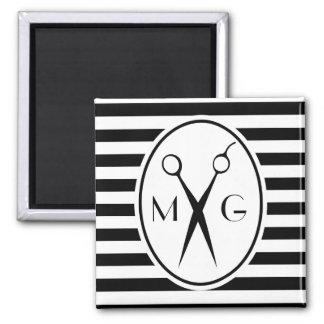 Scissor Monogram Initials Hair Stylist Barber Shop Magnet