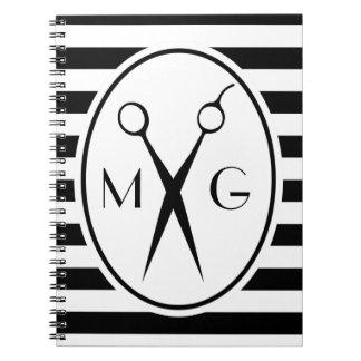 Scissor Monogram Initials Hair Stylist Barber Shop Notebook