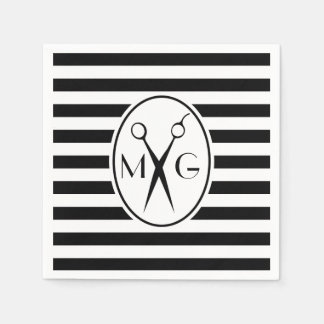 Scissor Monogram Initials Hair Stylist Barber Shop Paper Napkin