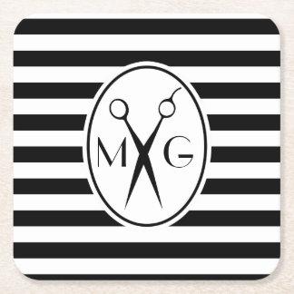 Scissor Monogram Initials Hair Stylist Barber Shop Square Paper Coaster