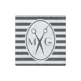 Scissor Monogram Initials Hair Stylist Barber Shop Stone Magnets