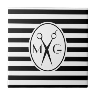 Scissor Monogram Initials Hair Stylist Barber Shop Tile