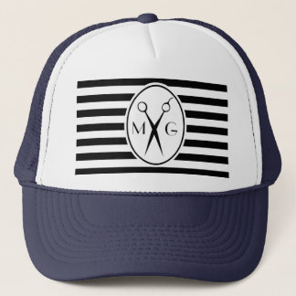 Scissor Monogram Initials Hair Stylist Barber Shop Trucker Hat