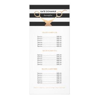 Scissors Black and White Striped Salon Price List Custom Rack Card