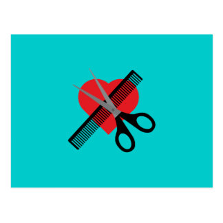 scissors & comb & heart postcard