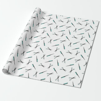 Scissors & Combs Pattern - Black White & Turquoise Wrapping Paper