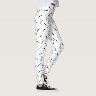 Scissors & Combs Pattern - White Black Turquoise Leggings
