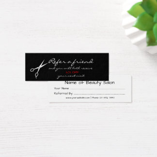 Scissors Hair Salon Referral Card