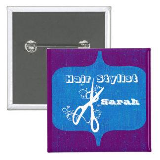 Scissors Swirls  Fashion Stylist Salons Name Tag 2 Inch Square Button