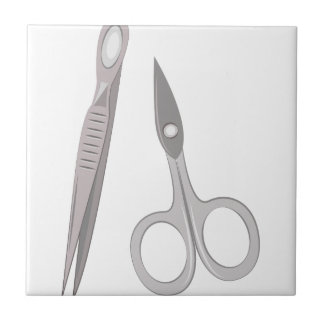 Scissors & Tweezers Ceramic Tile