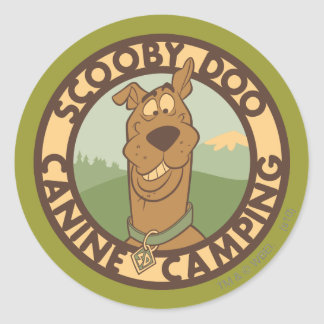 """Scooby Doo """"Canine Camping"""" Round Sticker"""