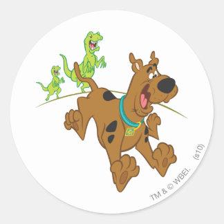 Scooby Doo Dinosaur Chasing2 Classic Round Sticker