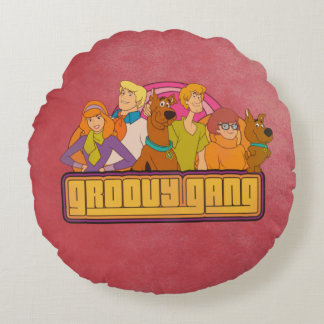 "Scooby-Doo | ""Groovy Gang"" Retro Cartoon Graphic Round Pillow"