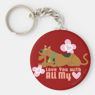 """Scooby Doo """"Love You With All My Heart"""" Keychain"""