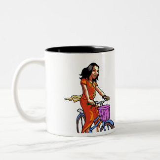 scooter and bike girl Two-Tone coffee mug