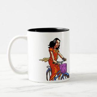 scooter and bike girl Two-Tone mug