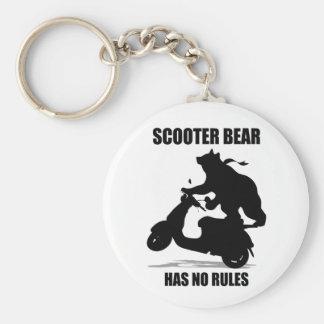 Scooter Bear Basic Round Button Keychain