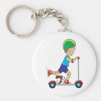 Scooter Boy Basic Round Button Keychain