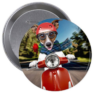 Scooter dog ,jack russell 4 inch round button
