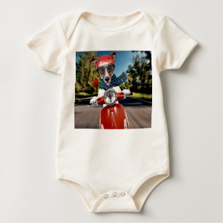 Scooter dog ,jack russell baby bodysuit