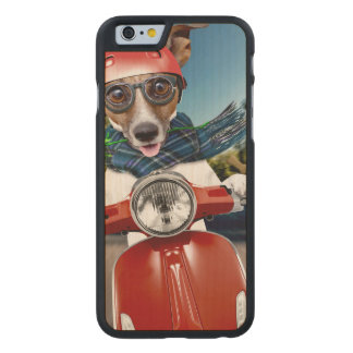 Scooter dog ,jack russell carved maple iPhone 6 case