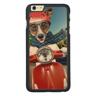 Scooter dog ,jack russell carved maple iPhone 6 plus case