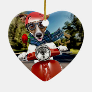 Scooter dog ,jack russell ceramic ornament