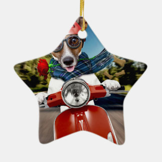 Scooter dog ,jack russell ceramic star ornament