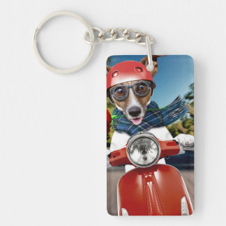 Scooter dog ,jack russell Double-Sided rectangular acrylic keychain