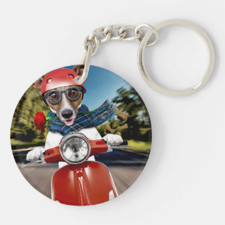 Scooter dog ,jack russell Double-Sided round acrylic keychain