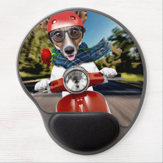 Scooter dog ,jack russell gel mouse pad