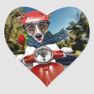 Scooter dog ,jack russell heart sticker