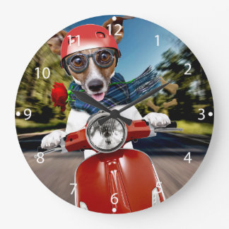 Scooter dog ,jack russell large clock
