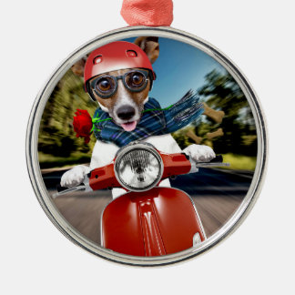 Scooter dog ,jack russell metal ornament