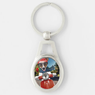Scooter dog ,jack russell Silver-Colored oval keychain