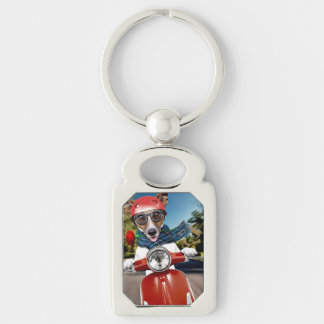 Scooter dog ,jack russell Silver-Colored rectangle keychain