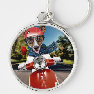 Scooter dog ,jack russell Silver-Colored round keychain