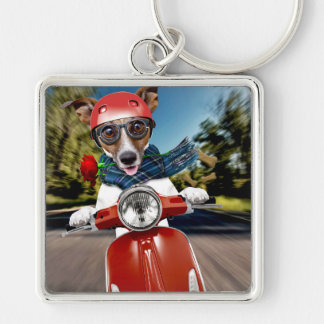 Scooter dog ,jack russell Silver-Colored square keychain