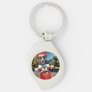 Scooter dog ,jack russell Silver-Colored swirl keychain