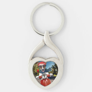 Scooter dog ,jack russell Silver-Colored twisted heart keychain