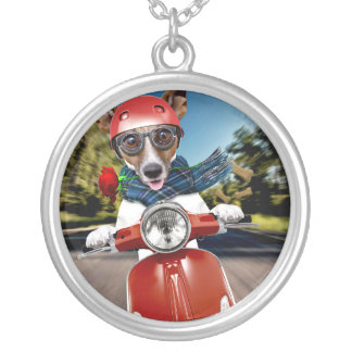 Scooter dog ,jack russell silver plated necklace