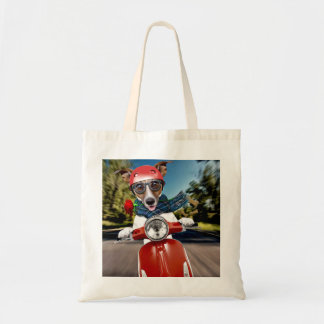 Scooter dog ,jack russell tote bag