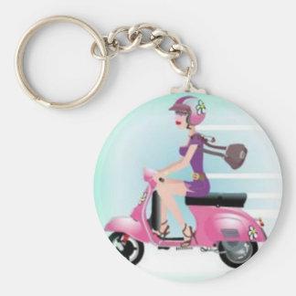 Scooter Girl Basic Round Button Keychain