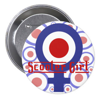 Scooter Girl design on target background 3 Inch Round Button