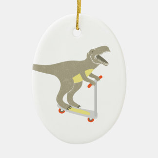 Scootering T-Rex Ceramic Ornament