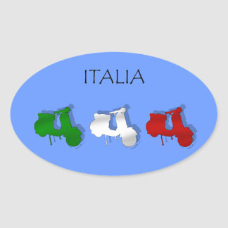 Scooters of Italy Italian Scooter Italia Logo flag Oval Sticker