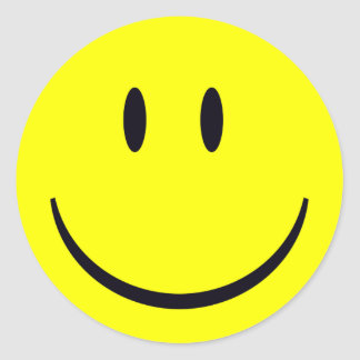 Scope Cap Sticker, Classic Smiley Face Round Sticker