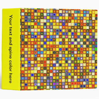 Scorching Yellow And Cool Blue Tiles Pattern Binder