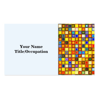 Scorching Yellow And Cool Blue Tiles Pattern Business Card