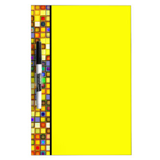 Scorching Yellow And Cool Blue Tiles Pattern Dry Erase Whiteboards